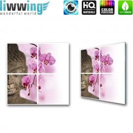 "Glasbild ""no. 0109"" | Wellness Glasbild Buddha Orchideen lila | liwwing (R)"