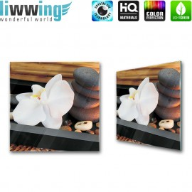 Glasbild ''no. 0279'' | Wellness Glasbild Orchidee Kerze Steine anthrazit | liwwing (R)