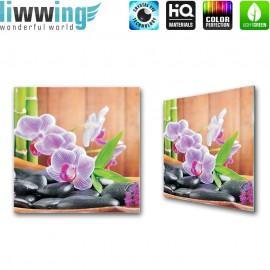 Glasbild ''no. 0298'' | Wellness Glasbild Orchidee Bambus Steine bunt | liwwing (R)