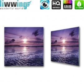 Glasbild ''no. 0310'' | Meer Glasbild Wasser Strand Sonnenuntergang Himmel blau | liwwing (R)