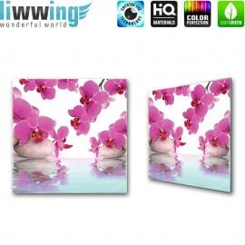 Glasbild ''no. 0413''   Wellness Glasbild Steine Orchideen Wasser lila   liwwing (R)