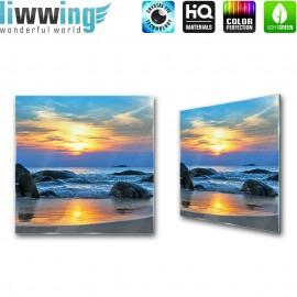 Glasbild ''no. 0453'' | Meer Glasbild Sonnenuntergang Wasser Steine Strand blau | liwwing (R)