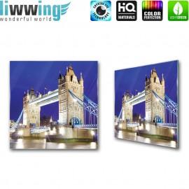 Glasbild ''no. 1221'' | London Glasbild Tower Bridge England Brücke Nacht blau | liwwing (R)