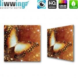 Glasbild ''no. 0460'' | Tiere Glasbild Schmetterling Kunst Illustration braun | liwwing (R)