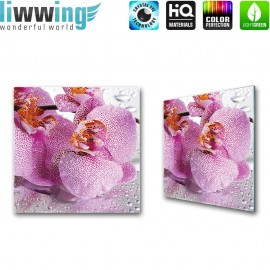 "Glasbild ""no. 0130""   Orchideen Glasbild Wasser Wellness Blume lila   liwwing (R)"