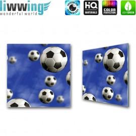 Glasbild ''no. 0529'' | Fußball Glasbild Sport Bälle Jungen blau | liwwing (R)