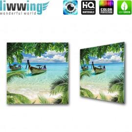 Glasbild ''no. 0649'' | Meer Glasbild Palme Paradies Boot Wasser türkis | liwwing (R)