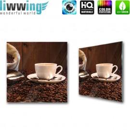 Glasbild ''no. 0866'' | Kaffee Glasbild Bohnen Trinken Koffein braun | liwwing (R)