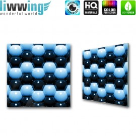 Glasbild ''no. 1044'' | 3D Glasbild Kugeln Kreise Form blau | liwwing (R)