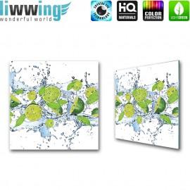 Glasbild ''no. 0864'' | Speisen Glasbild Limette Wasser Obst grün | liwwing (R)