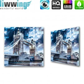 Glasbild ''no. 3062'' | London Glasbild Tower Bridge Brücke Wasser blau | liwwing (R)