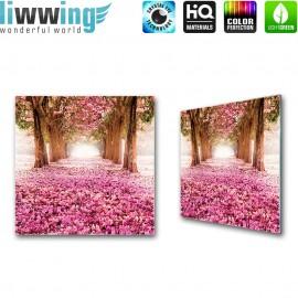Glasbild ''no. 1572''   Wald Glasbild Bäume Natur Blüten Blumen lila   liwwing (R)