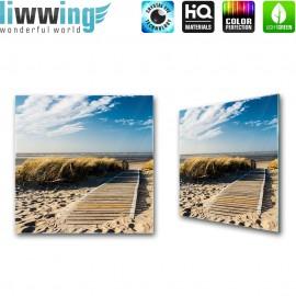 Glasbild ''no. 0038'' | Strand Glasbild Steg Gräser Sand Wasser Himmel blau | liwwing (R)