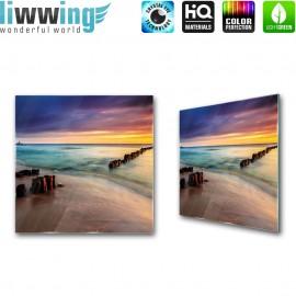Glasbild ''no. 1190'' | Strand Glasbild Wasser Meer Steine bunt | liwwing (R)