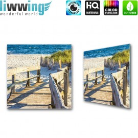 Glasbild ''no. 2643'' | Strand Glasbild Steg Meer Wasser Weg blau | liwwing (R)