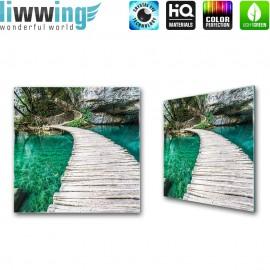 Glasbild ''no. 0268'' | Meer Glasbild Steg Paradies Wasser Insel Felsen türkis | liwwing (R)