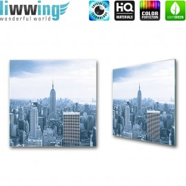 Glasbild ''no. 1327'' | Manhattan Glasbild New York Skyline Aussicht natural | liwwing (R)