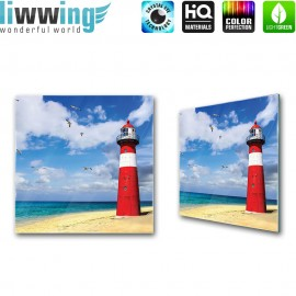 Glasbild ''no. 1468'' | Strand Glasbild Leuchtturm Sand Wasser Vögel Himmel rot | liwwing (R)