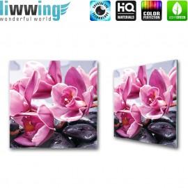 Glasbild ''no. 1700'' | Wellness Glasbild Blumen Steine Blüten lila | liwwing (R)