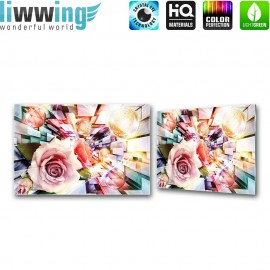 Glasbild ''no. 0991'' | Kunst Glasbild Rose Lightning Abstrakt 3D bunt | liwwing (R)