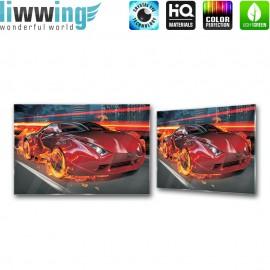 Glasbild ''no. 0323'' | Auto Glasbild Auto Feuer Speed Stadt rot | liwwing (R)