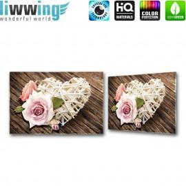 Glasbild ''no. 1542'' | Wellness Glasbild Rose Herz Liebe Holz braun | liwwing (R)