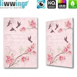 "Glasbild ""no. 0180"" | Kunst Glasbild Blumen Vögel Artwork Schrift rosa | liwwing (R)"
