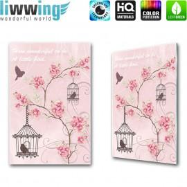 "Glasbild ""no. 0181"" | Kunst Glasbild Blumen Vögel Artwork Schrift rosa | liwwing (R)"