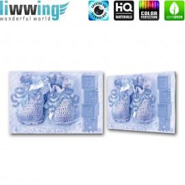 "Glasbild ""no. 0183"" | Sonstiges Glasbild Baby Würfel Schleife Schuhe blau | liwwing (R)"
