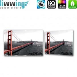 Glasbild ''no. 0429'' | Brücken Glasbild Architektur Wasser Stadt Land rot | liwwing (R)