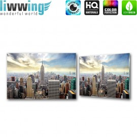 Glasbild ''no. 1327'' | Manhattan Glasbild Skyline Aussicht Stadt New York braun | liwwing (R)