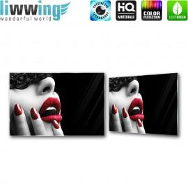 "Glasbild ""no. 0089"" | Erotik Glasbild Frau Fingernägel Lippen schwarz | liwwing (R)"
