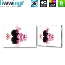 """Glasbild """"no. 0112""""   Wellness Glasbild Blüte Blume Stein Entspannung Wasser rosa   liwwing (R)"""