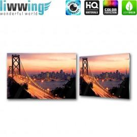 Glasbild ''no. 1009''   Sonnenuntergang Glasbild Skyline USA Brücke Wasser orange   liwwing (R)