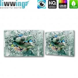 Glasbild ''no. 1539'' | Steinwand Glasbild Delphine Meer Korallen grau | liwwing (R)