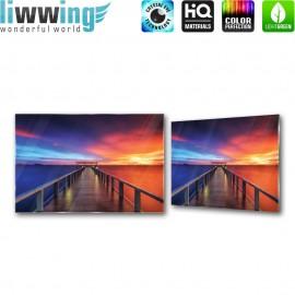 Glasbild ''no. 0992''   Sonnenuntergang Glasbild Meer Horizont Steg Himmel orange   liwwing (R)