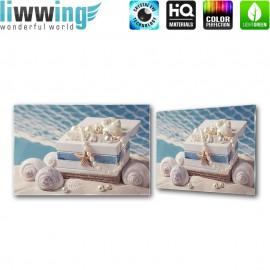 Glasbild ''no. 3096''   Wellness Glasbild Muscheln Perlen Seestern Sand beige   liwwing (R)