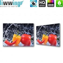 "Glasbild ""no. 0199"" | Speisen Glasbild Gemüse Paprika Peperoni Wasser rot | liwwing (R)"