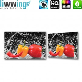 "Glasbild ""no. 0200"" | Speisen Glasbild Gemüse Paprika Peperoni Wasser rot | liwwing (R)"