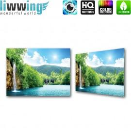 Glasbild ''no. 0377'' | Meer Glasbild Paradies Wasser Wasserfall Pflanzen Himmel türkis | liwwing (R)