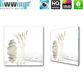"""Glasbild """"no. 0204""""   Wellness Glasbild Steine Wasser Gräser weiß   liwwing (R)"""