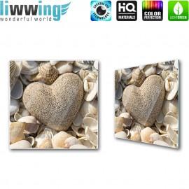 """Glasbild """"no. 0206""""   Wellness Glasbild Herz Stein Muscheln beige   liwwing (R)"""