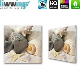 """Glasbild """"no. 0207""""   Wellness Glasbild Herz Stein Sand Muscheln beige   liwwing (R)"""