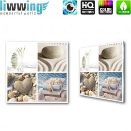 """Glasbild """"no. 0208""""   Wellness Glasbild Steine Herz Wasser Muscheln Schatztruhe beige   liwwing (R)"""