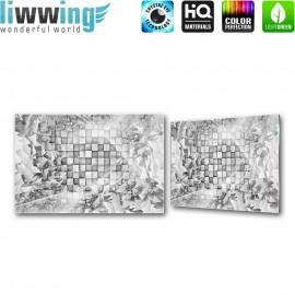 Glasbild ''no. 0882'' | 3D Glasbild Kacheln Splitter Muster Kunst grau | liwwing (R)