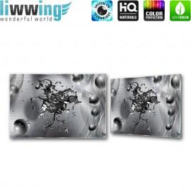 "Glasbild ""no. 0213"" | 3D Glasbild Splash Bubble Muster Formen grau | liwwing (R)"