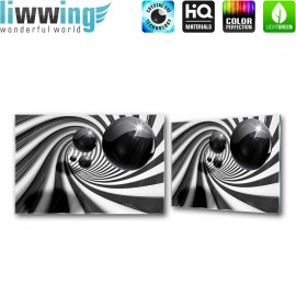Glasbild ''no. 0896'' | 3D Glasbild Bubble Streifen Muster Abstrakt schwarz - weiß | liwwing (R)