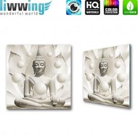 Glasbild ''no. 2149'' | Religion Glasbild Buddha Buddhismus Indien beige | liwwing (R)