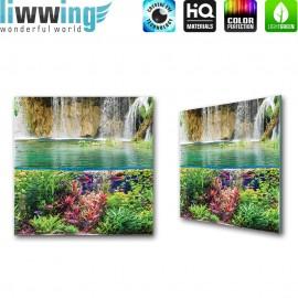 Glasbild ''no. 2540'' | Wasser Glasbild Fische Wasserfall Meer Pflanzen Natur türkis | liwwing (R)