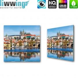 Glasbild ''no. 3136'' | Stadt Glasbild Wasser Häuser Hafen bunt | liwwing (R)